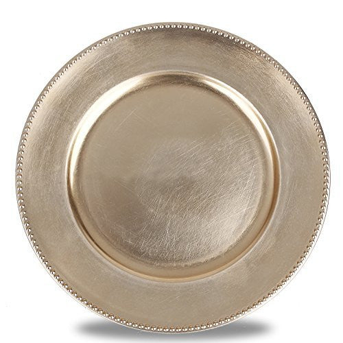 "Fantastic:)™ 6pcs/Set Classic Design Round 13""x13"" Charger Plates with Metallic Finish (Set of 6, Beaded Gold)"
