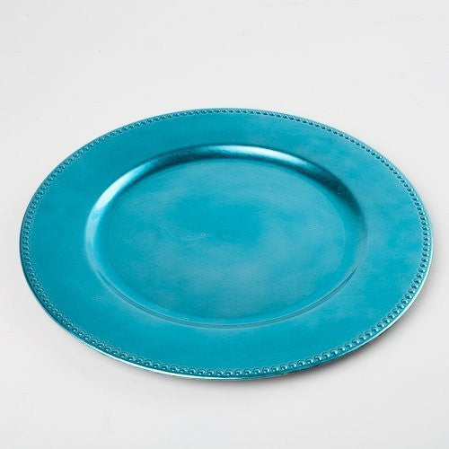 "Richland Round Acrylic Beaded Charger Plate 13"" Aqua Blue"