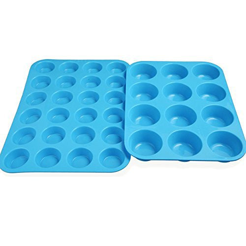 Pack of 2 Silicone Muffin Cupcake Pan (12 cups and 24 cups) Blue