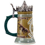 Game of Thrones House Stark Stein - 22 Oz Ceramic Base with Pewter Baratheon Crown Top
