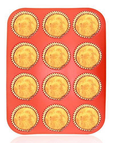 Homga Silicone Muffin Pan,12-Cup Muffin Trays Red Silicone Cupcake Baking Pans / Non stick / Dishwasher - Microwave Safe