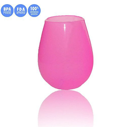 Jypc 1PC Premium Food Grade Clear Travel Mugs Reusable Silicone Wine Glasses (9 OZ, Rose Red)