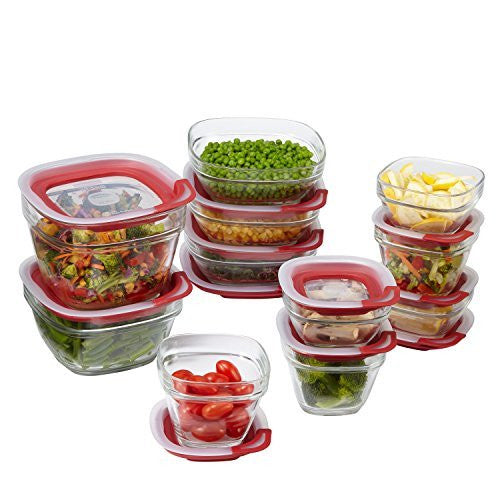 Rubbermaid Easy Find Lids Glass Food Storage Container, 22-piece Set, Red (1865887)