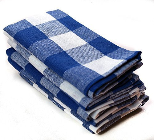 "Lighthouse Checkered Cloth Napkins 14"" x14"" Cotton Blue Checked 6 Pack"