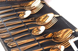 High-grade Flatware Set in Gift Box Rose Gold Stainless Steel Plated Dinnerware (24 Piece Fork Knife Spoon Set) Mirror Polishing Cutlery
