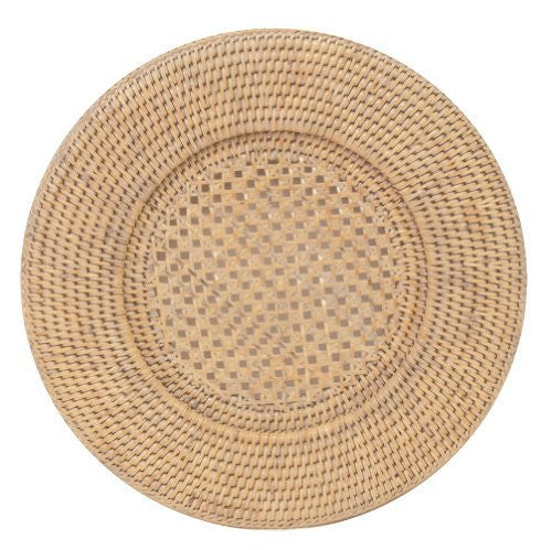 Entertaining with Caspari Rattan Dinner Plate Charger, Round, Natural White, 1-Count