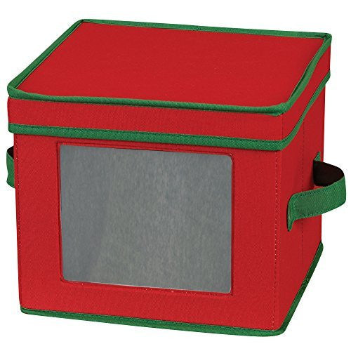 Household Essentials Holiday Dinnerware Storage Chest for Salad Plates or Bowls, Red with Green Trim