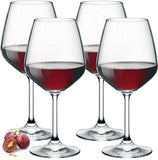 Paksh Novelty Italian Red Wine Glasses - 18 Ounce - Lead Free - Shatter Resistant - Wine Glass Set of 4, Clear