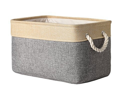 TheWarmHome Collapsible Rectangular Fabric Storage Bin Organizer Basket with Handles for Clothes Storage,Toy Organizer,Pet Toy Storing,Grey