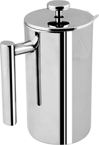French Coffee Press - Double Wall 100% Stainless Steel - 32 Oz - by Utopia Kitchen