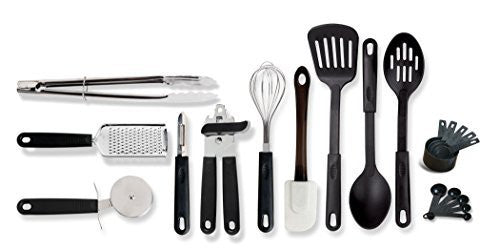 Gibson Home 99202.20 Total 20 Piece Kitchen Tool/Gadget Prepare & Serve Combo Set, Black
