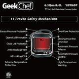 GeekChef 11-in-1 Multi-Functional Pressure Cooker, 6Qt/1000W Stainless Steel Cooking Pot with Detachable Lid