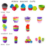 Mirenlife Reusable and Non-stick Mini Silicone Baking Cups/ Muffin Cups/ Mini Cupcake Liners/ Mini Chocolate Holders/Truffle Cups -24 Pack-6 Vibrant Colors Round