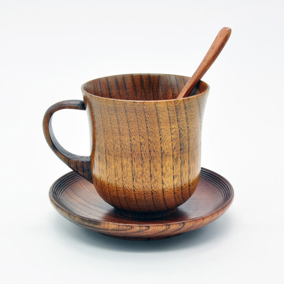 3pcs/set Wooden Cup Saucer Spoon Set Coffee Tea Tools Accessories