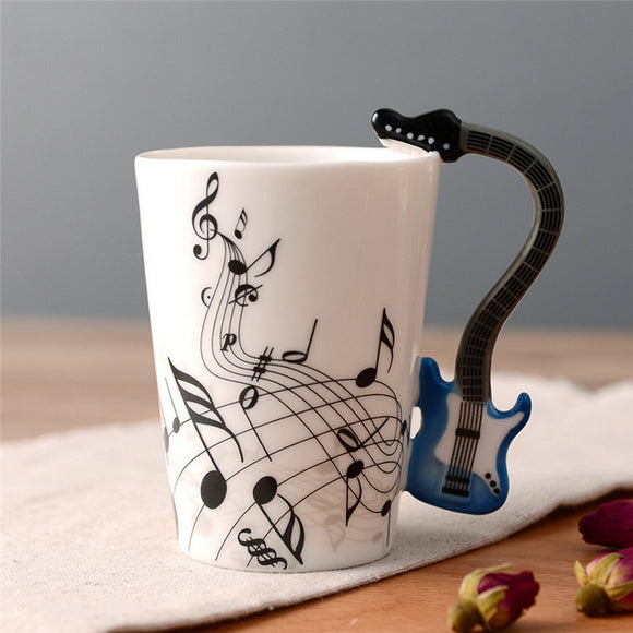Guitar Ceramic Cup Music Note Drinkware (Unique Gift)
