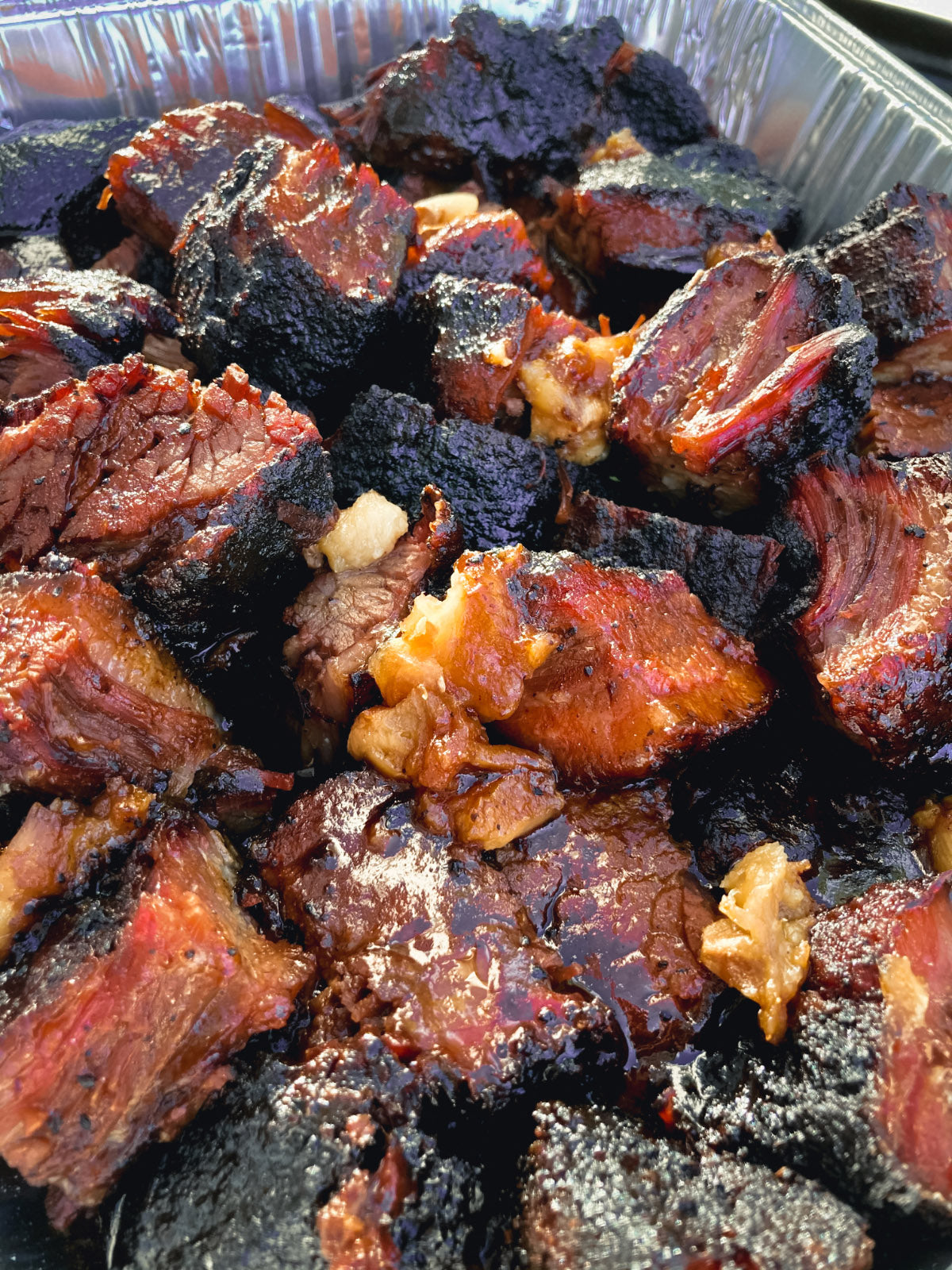 Photo of cooked brisket burnt ends