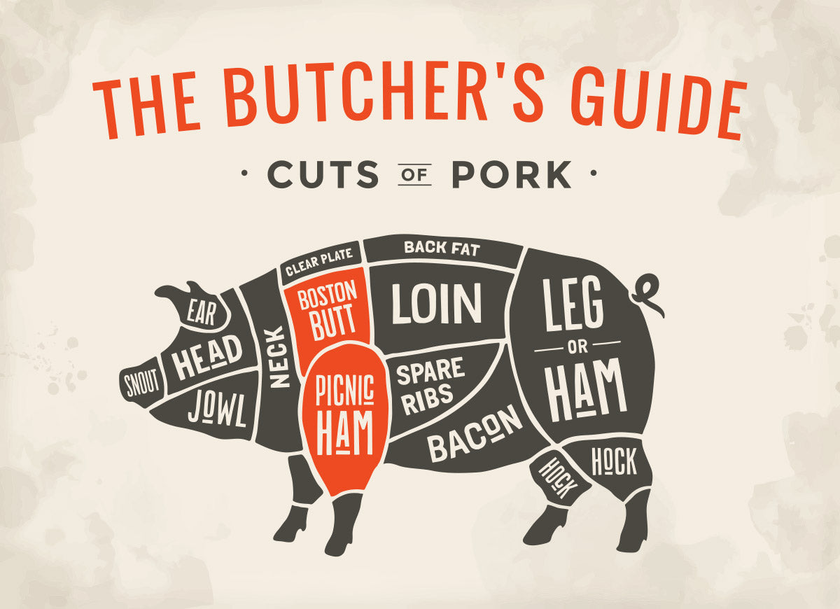 Chart detailing all the butcher cuts of a pig with the pork shoulder highlighted