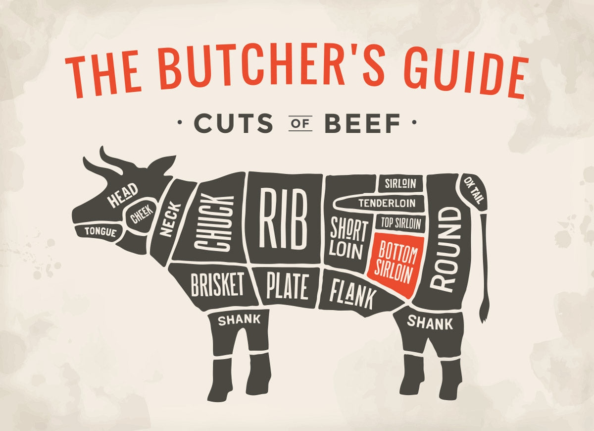 Diagram of all beef cuts from a cow