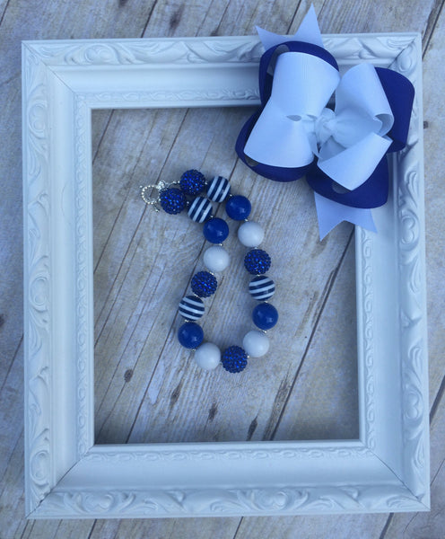 Royal blue and white set