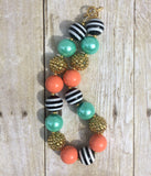 Coral, Mint, black, gold Necklace and bows