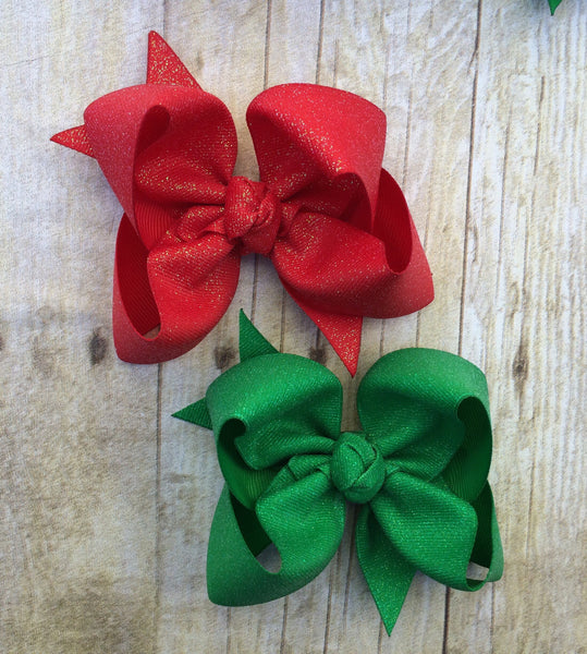 christmas hair bow, holiday hair bow, glitter hair bow, red bow, green bow, photo shoot, M2M