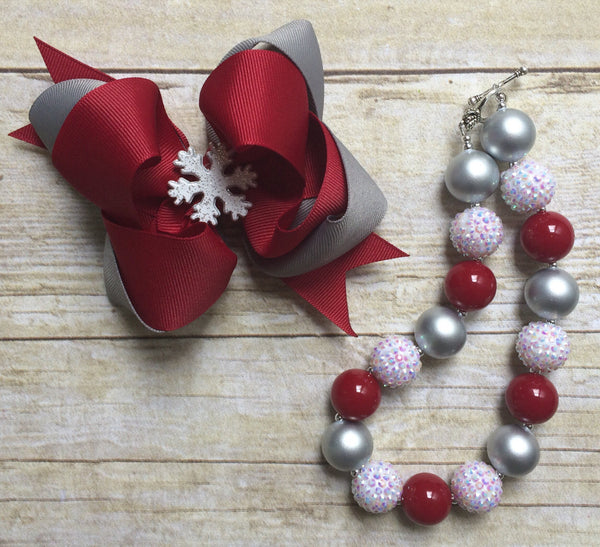 Christmas hair bow, christmas Bubblegum necklace, snowflake hair bow, chunky necklace, Big Bow, photo prop,