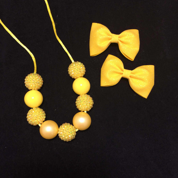 Yellow piggies, yellow chunky necklace