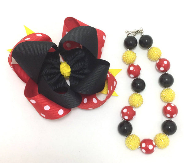 Minnie Mouse inspired bow and necklace set