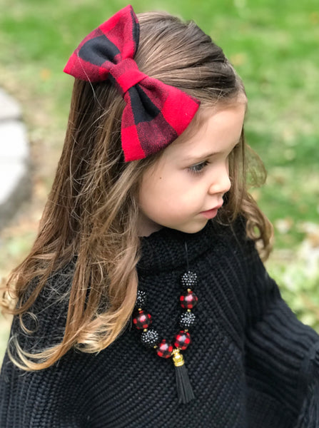 Buffalo plaid Flannel bow