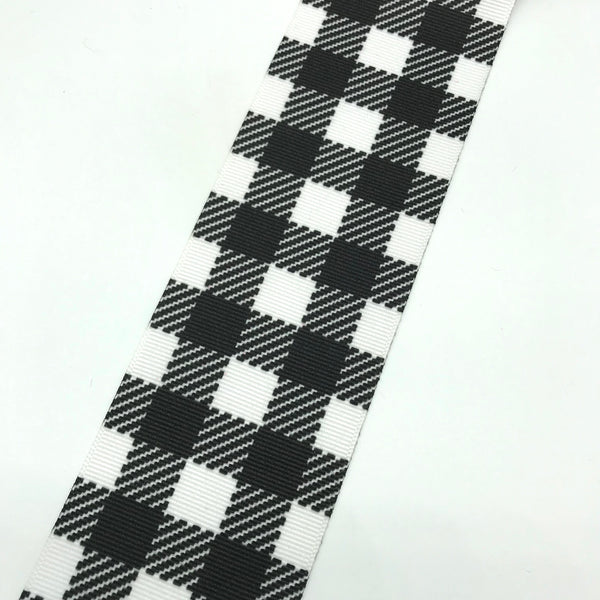 Black/White Buffalo plaid wide ribbon