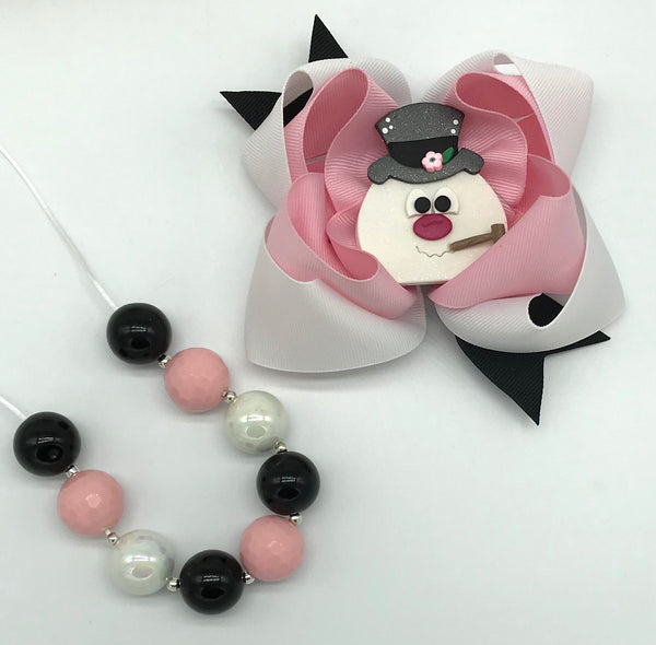 Frosty bow and/or necklace