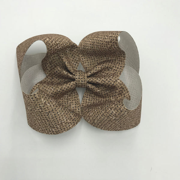 Burlap wide ribbon bow