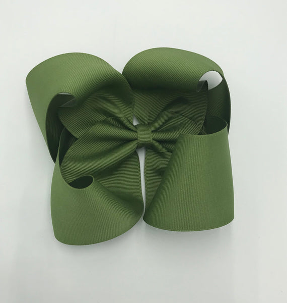 Olive wide ribbon bow