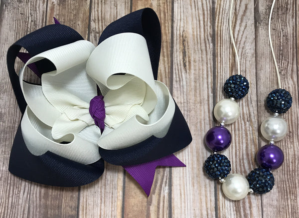Navy, purple & Ivory