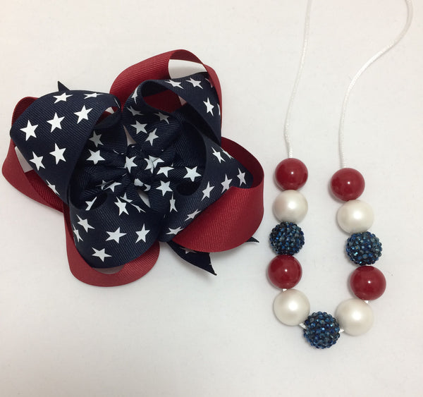Vintage Fourth of July double stack bow set
