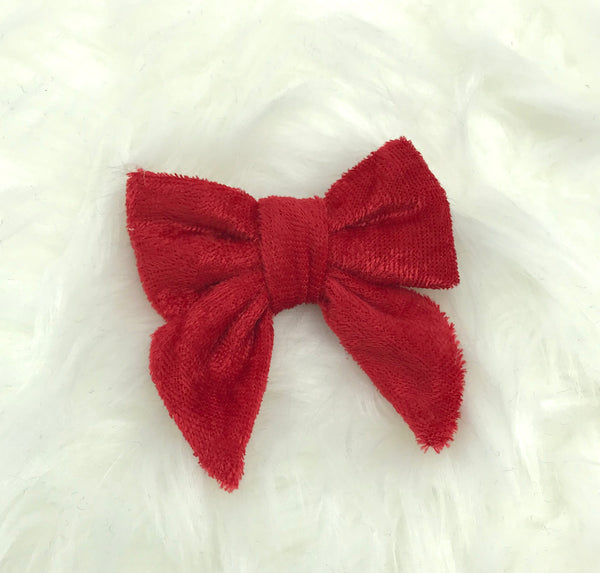 Crushed red velvet bow