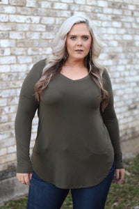 Brittany Basic Olive Long Sleeve V Neck