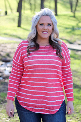 Paxton Coral Stripe Top