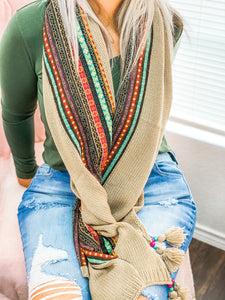 Knit Braided Tassel Bead Scarf