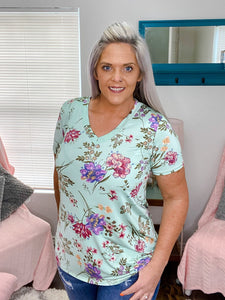 Jillian Mint Floral Top