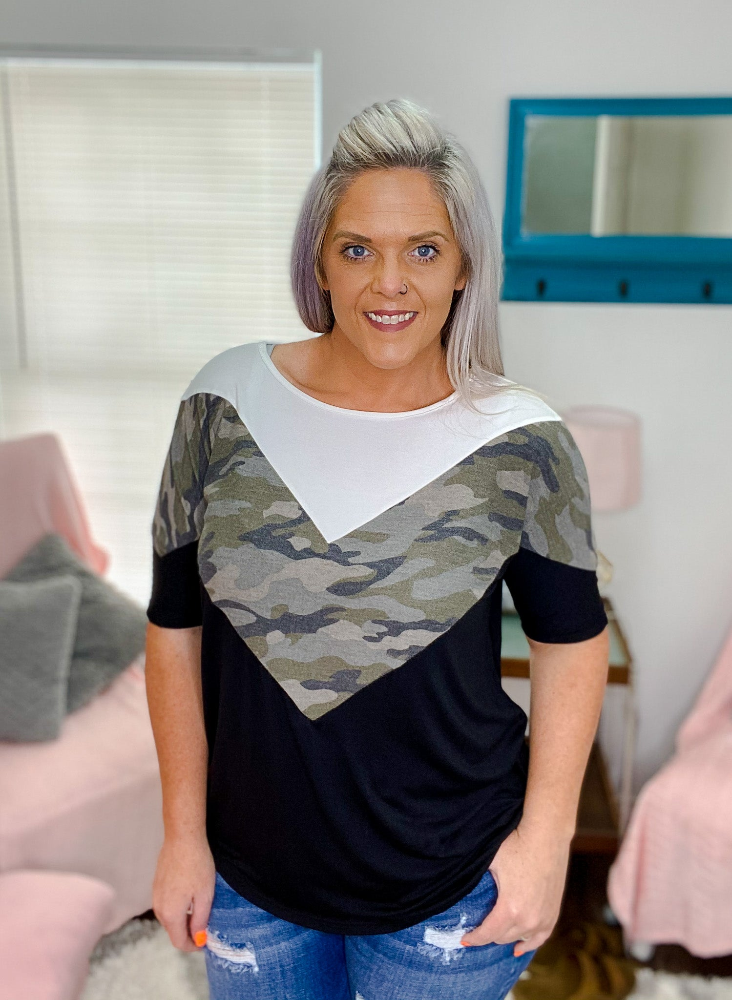 Brynn Camo Colorblock Top