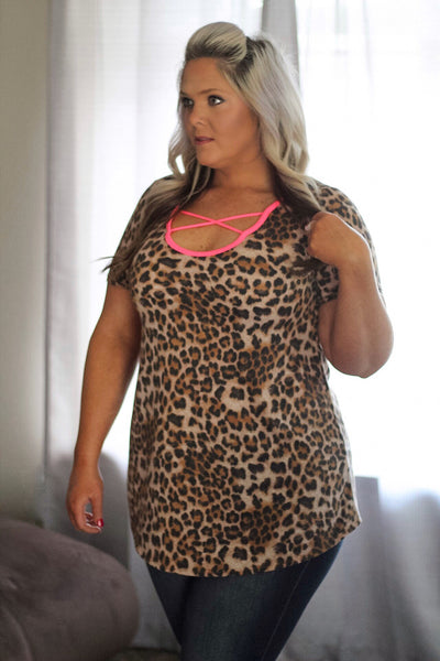 Rayna Leopard Tunic with Hot Pink Criss Cross