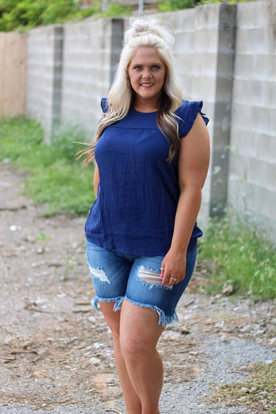 Allie Navy Ruffle Top