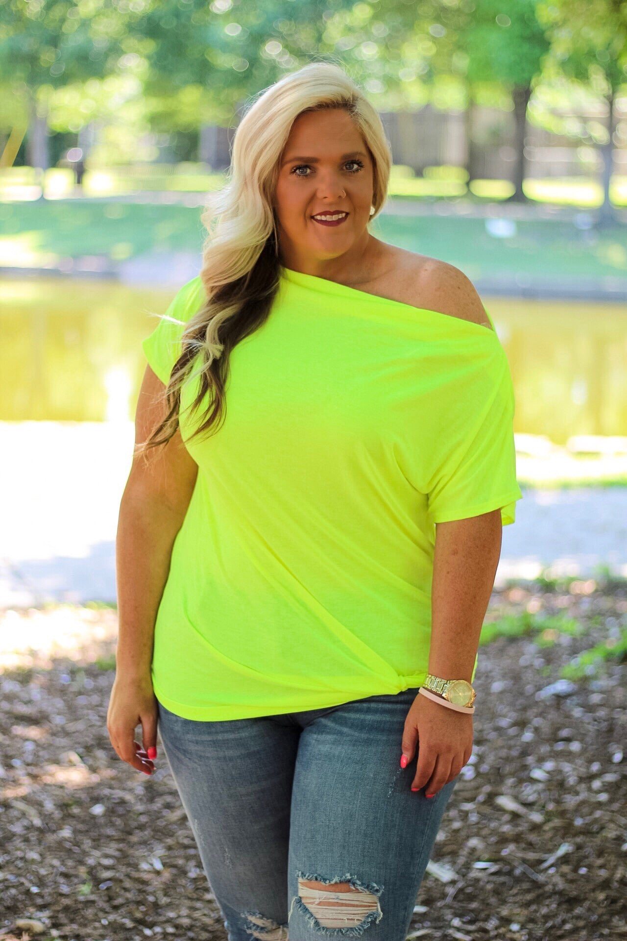 Carin Neon Yellow Off The Shoulder Top