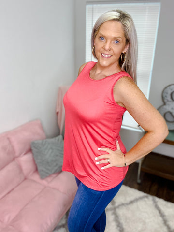 Kalin Peek Back Coral Top
