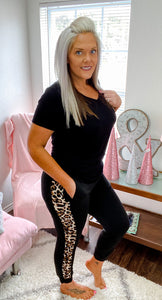 Black and Leopard Joggers