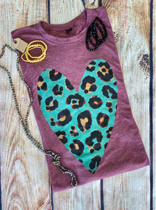 Berry Leopard Heart Tee