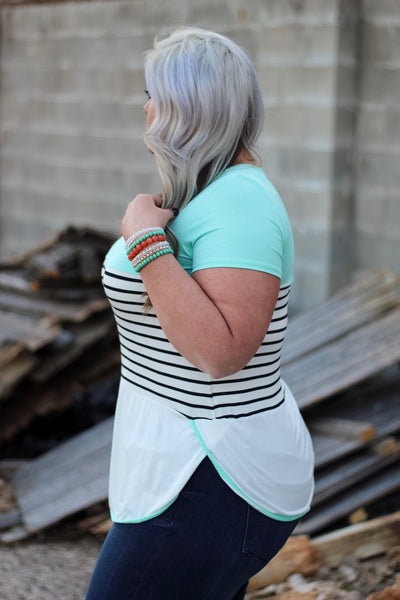 Elisha Mint and Stripe Top