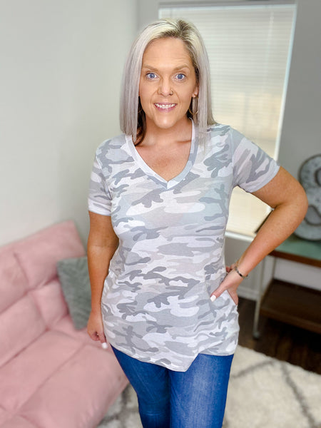 Gracen Grey Camo Top