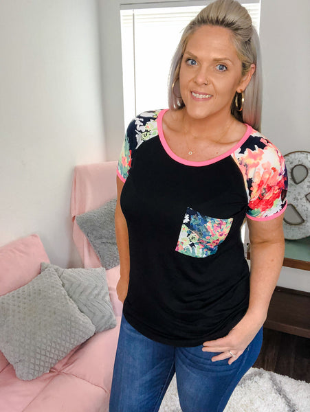 Sloane Black and Floral Top